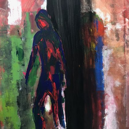 Stepping out of the shadow - acrylic on canvas 100 x 76 cms £600