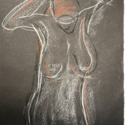 charcoal, chalk & conte 30x42 cms